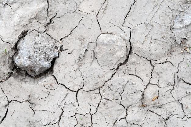 Szare tło terenu popękane podczas suszy z niewielką ilością suchej trawy i kamieni. ekologia, środowisko, zła gleba w miesiącach bez deszczu