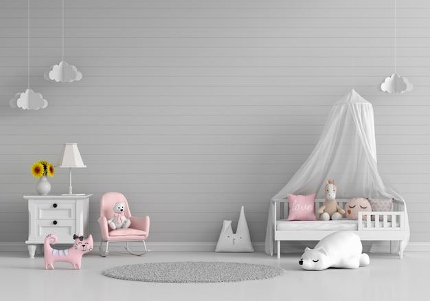 Szare wnętrze sypialni dziecka z wolną przestrzenią
