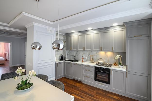 Szare współczesne klasyczne wnętrze kuchni zaprojektowane w nowoczesnym stylu