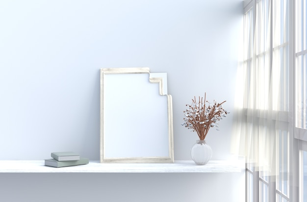 Szaro-biały wystrój pokoju biała ściana, okno, stół, biała róża, zasłona, makiety, ramki na zdjęcia.