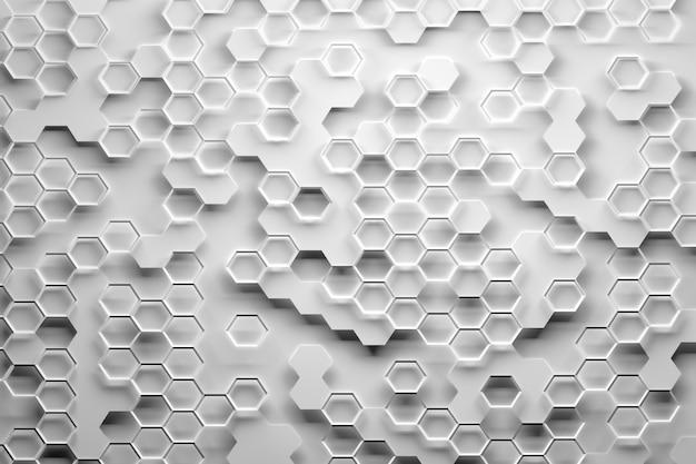 Szaro-biały wzór sześciokąta o strukturze plastra miodu