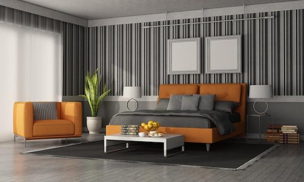 Szaro-pomarańczowa nowoczesna sypialnia z podwójnym łóżkiem, fotelem i ścianą z tapetą - renderowanie 3d