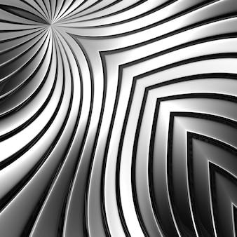Szary abstrakcyjny metalowy pasek w kolorze chromu. piękne kształty gięcia linii