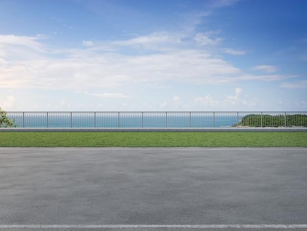 Szary betonowy chodnik na zielonym ogrodzie trawiastym w nowoczesnym parku miejskim