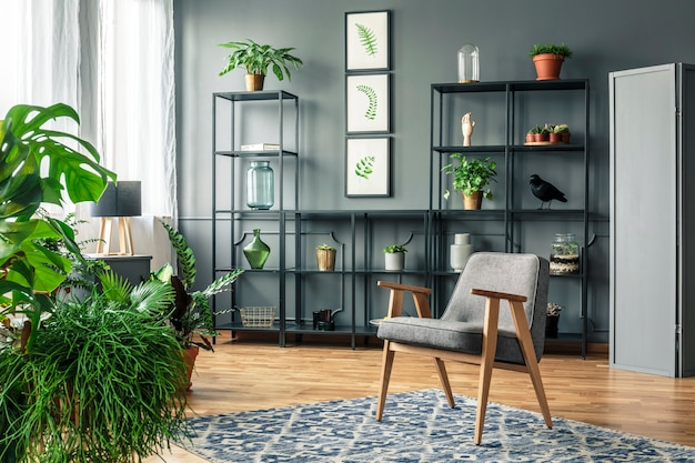 Szary fotel na wzorzystym dywanie w ciemnym i eleganckim wnętrzu salonu z roślinami na metalowym stojaku