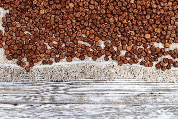 Szary groszek tekstury. drobne ziarna nasion fasoli roślin strączkowych