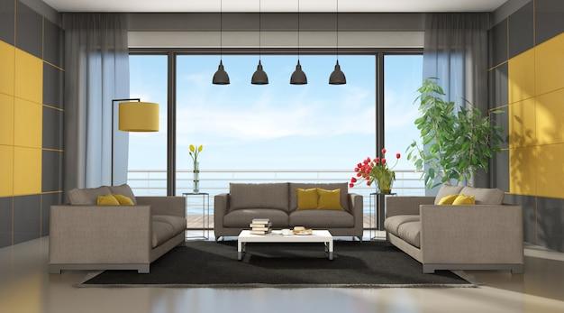 Szary i żółty nowoczesny salon