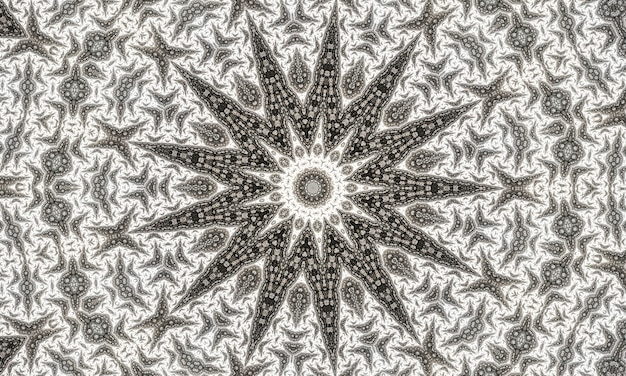 Szary kalejdoskop gwiazdowy. bezszwowa geometria. kwiat szary dywan. beżowy kalejdoskop dzieci. kościół witrażowy. szary wzór czeskiego projektu.