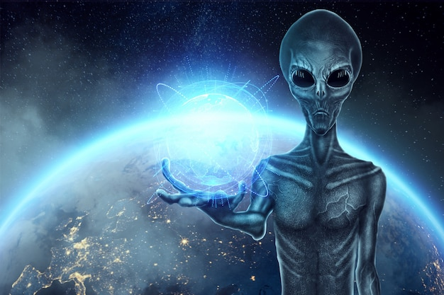 Szary kosmita, humanoid, trzyma w dłoni hologram kuli ziemskiej. koncepcja ufo, obcy, kontakt z cywilizacją pozaziemską.