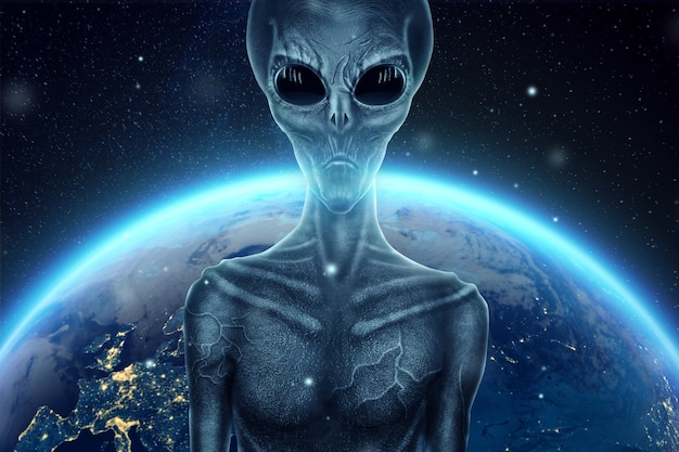 Szary kosmita, humanoid, z czarnymi dużymi szklanymi oczami na tle kuli ziemskiej. koncepcja ufo, obcy, kontakt z cywilizacją pozaziemską.