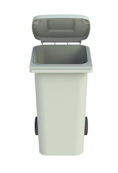 Szary kosz na śmieci na kółkach z otwartą pokrywą