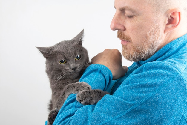 Szary kot trzyma łapę mężczyzny