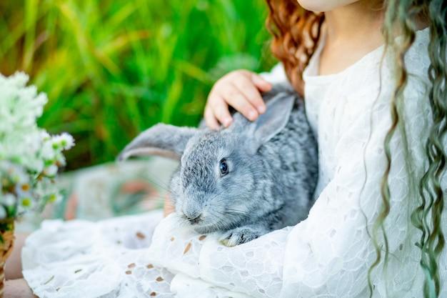 Szary królik w ramionach dziewczynki na zielonej trawie latem