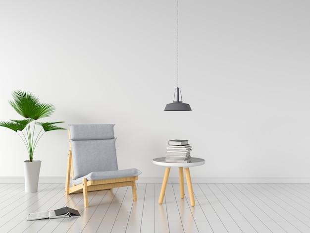 Szary krzesło w białym pokoju dla makieta