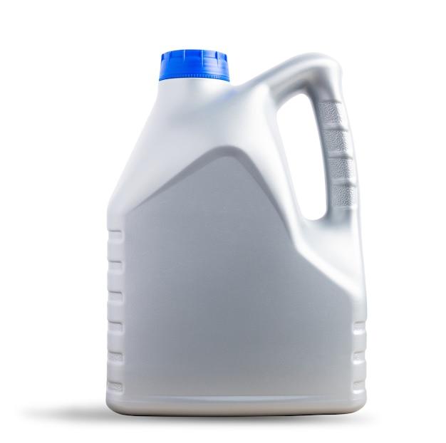 Szary plastikowy kanister do smarowania maszynowego, galonowa butelka 4 litry z niebieską nakrętką