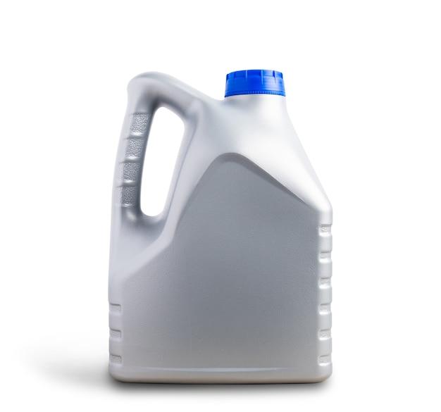 Szary plastikowy kanister do smarowania maszynowego, galonowa butelka 4 litry