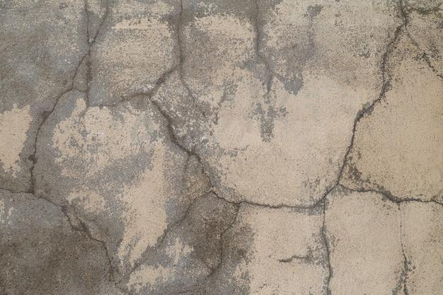 Szary stary betonowy mur z wieloma długimi pęknięciami. styl miejski. skopiuj miejsce. pęknięta tekstura, streszczenie tło.