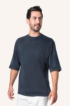 Szary t-shirt z przestrzenią projektową męska odzież codzienna widok z tyłu