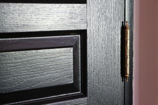 Szczegół zbliżenie czarne drzwi