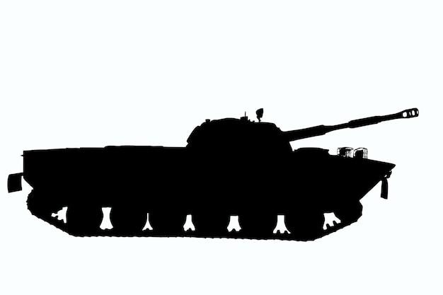 Szczegółowa ilustracja konturu radzieckiego czołgu z profilu na białym tle do przycięcia. widok z boku