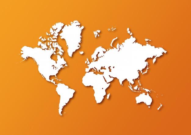 Szczegółowa mapa świata na białym tle na pomarańczowym tle