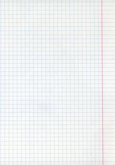Szczegółowa pusta tekstura arkusza papieru matematycznego z marginesami.
