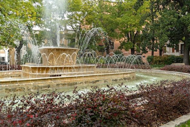 Szczegółowo krajobraz fontanny w rovigo, włochy. stara marmurowa fontanna.