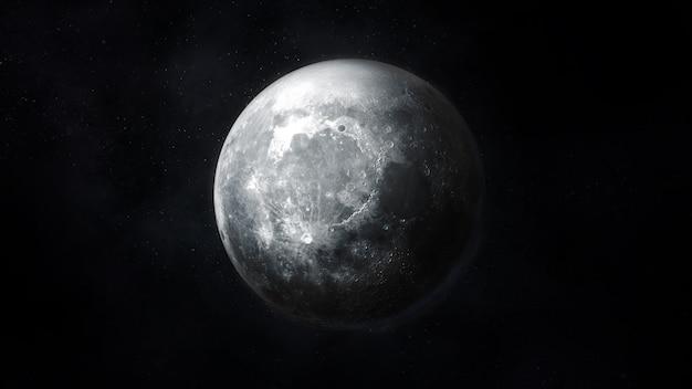 Szczegółowy ciemnoszary obraz księżyca w kosmosie