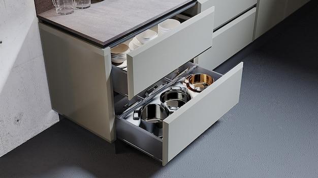 Szczegółowy projekt kuchni z narzędziami kuchennymi