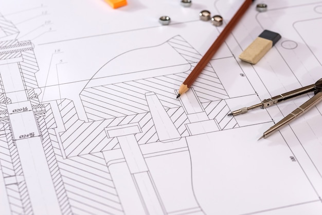 Szczegółowy rysunek części, nakrętki na papierze