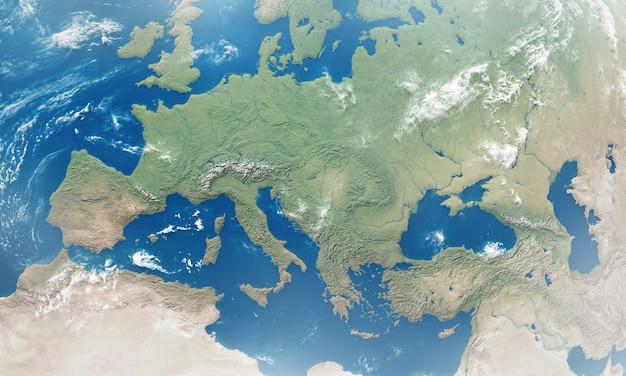 Szczegółowy widok europy z kosmosu