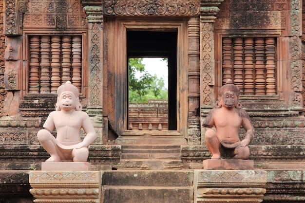 Szczegóły bantey srei, różowa świątynia, siem przeprowadzają żniwa, kambodża.
