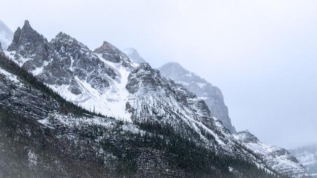 Szczegóły dotyczące górskich szczytów podczas śnieżycy, jeziora louise, parku narodowego banff, alberta, cananda