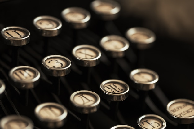 Szczegóły klawiatury maszyny do pisania stare czarne