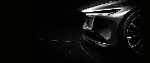 Szczegóły na jednym z reflektorów led nowoczesnego samochodu na czarnym tle