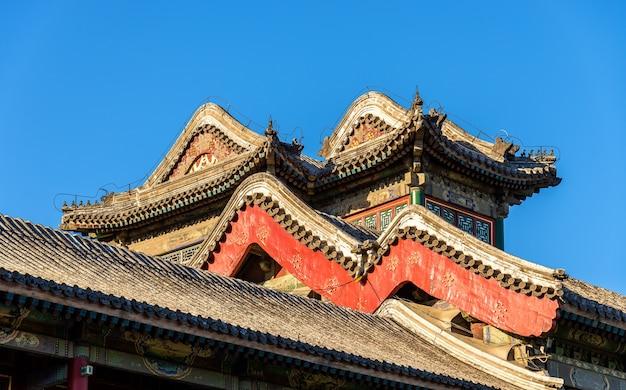 Szczegóły pawilonów w pałacu letnim w pekinie, chiny