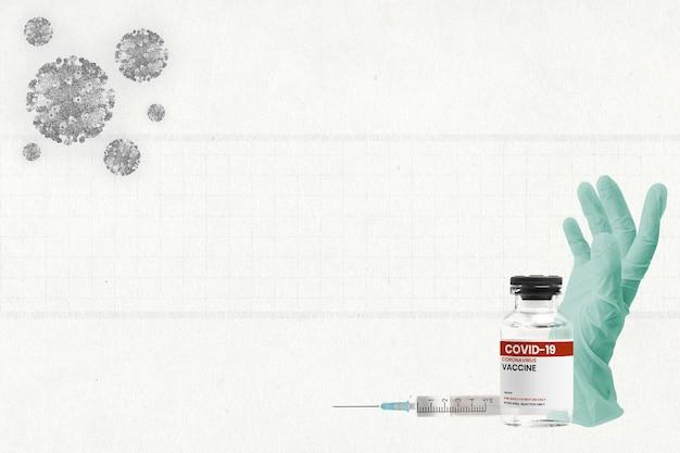Szczepionka przeciw covid-19 z tłem w rękawicach medycznych
