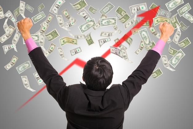 Szczęście biznesmena po wie, jak zdobyć dużo pieniędzy