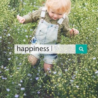 Szczęście błogi uśmiech pozytywny graficzny słowo