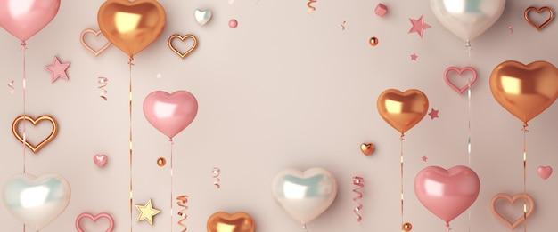 Szczęśliwa dekoracja walentynki z balonem w kształcie serca