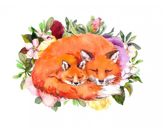 Szczęśliwa karta dzień matki ze śpiącymi lisami. kartkę z życzeniami dla mamy z uroczymi zwierzętami. dziecko i matka razem w kwiaty. akwarela