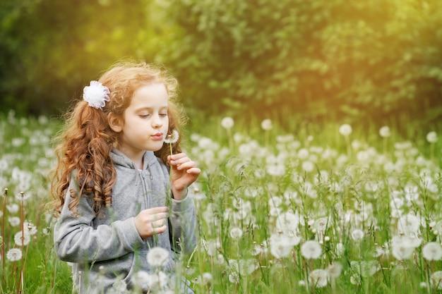 Szczęśliwa kędzierzawa dziewczyna podmuchowy dandelion