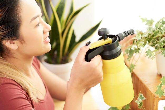 Szczęśliwa kobieta rozpyla rośliny doniczkowe