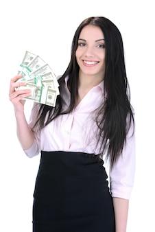 Szczęśliwa kobieta z pieniądze