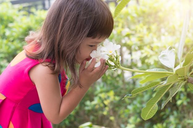 Szczęśliwa mała dziewczynka wącha plumeria kwiatu na drzewie.