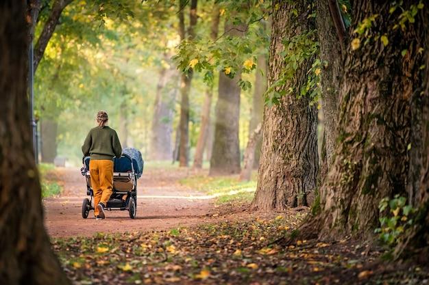 Szczęśliwa mama spaceru w parku jesień z wózkiem bliźniaków
