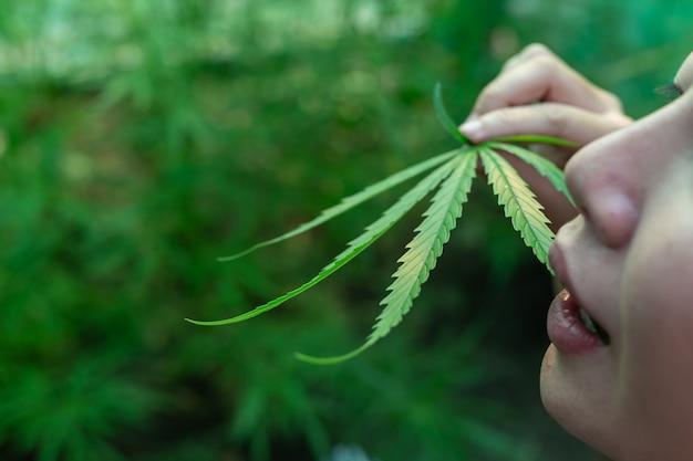 Szczęśliwa młoda dziewczyna stoi i trzyma marihuany.