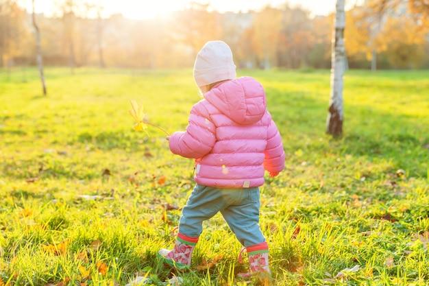 Szczęśliwa młoda dziewczyna uśmiechając się w pięknym jesiennym parku na spacery natury. małe dziecko bawiące się spadającymi żółtymi liśćmi klonowymi jesienią jesień pomarańczowy żółty tło. witam koncepcja jesień.