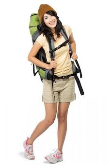 Szczęśliwa młoda kobieta iść na wakacje