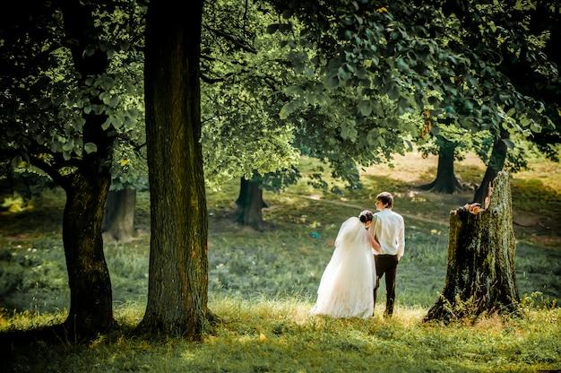 Szczęśliwa panna młoda i pan młody na spacerze w pięknym lesie